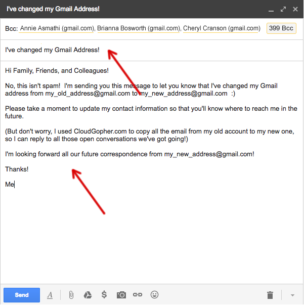 notify contacts of your new gmail address