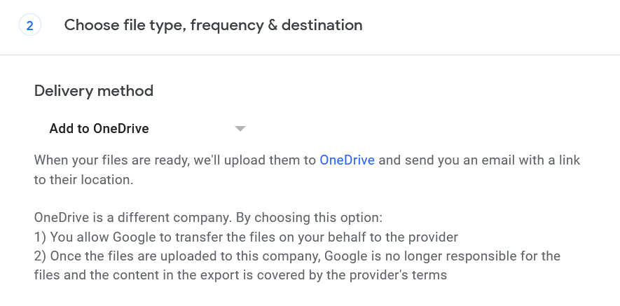 Step 3 of Google Takeout export to OneDrive. The menu for selecting OneDrive