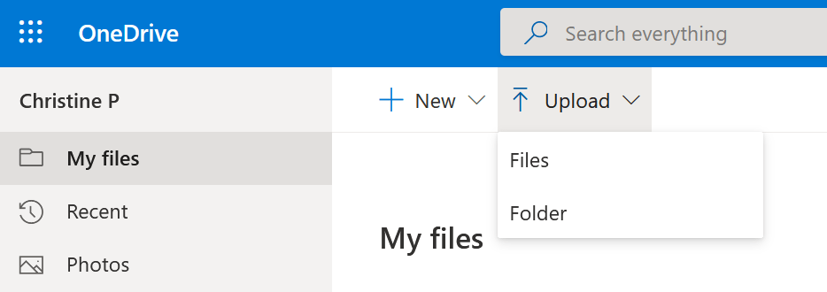 Step 2 of manual migration to OneDrive. The menu for the upload from the hard drive