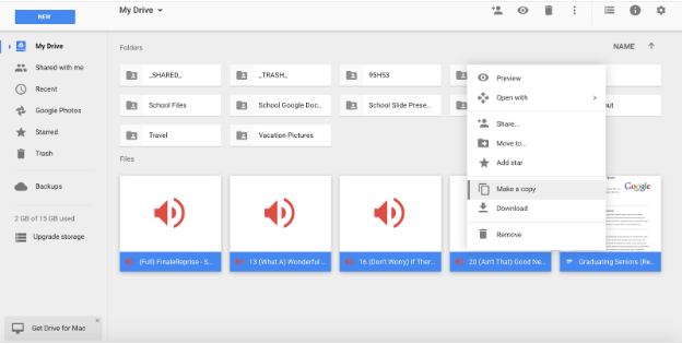 Make a Copy of G Suite Drive files