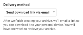 Google Takeout Delivery Method Selection