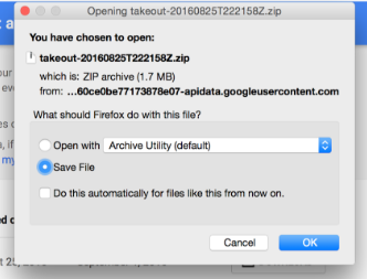 Save Google Takeout zip file to your computer dialog