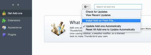 Mozilla Thunderbird Install Add-on From File dialog